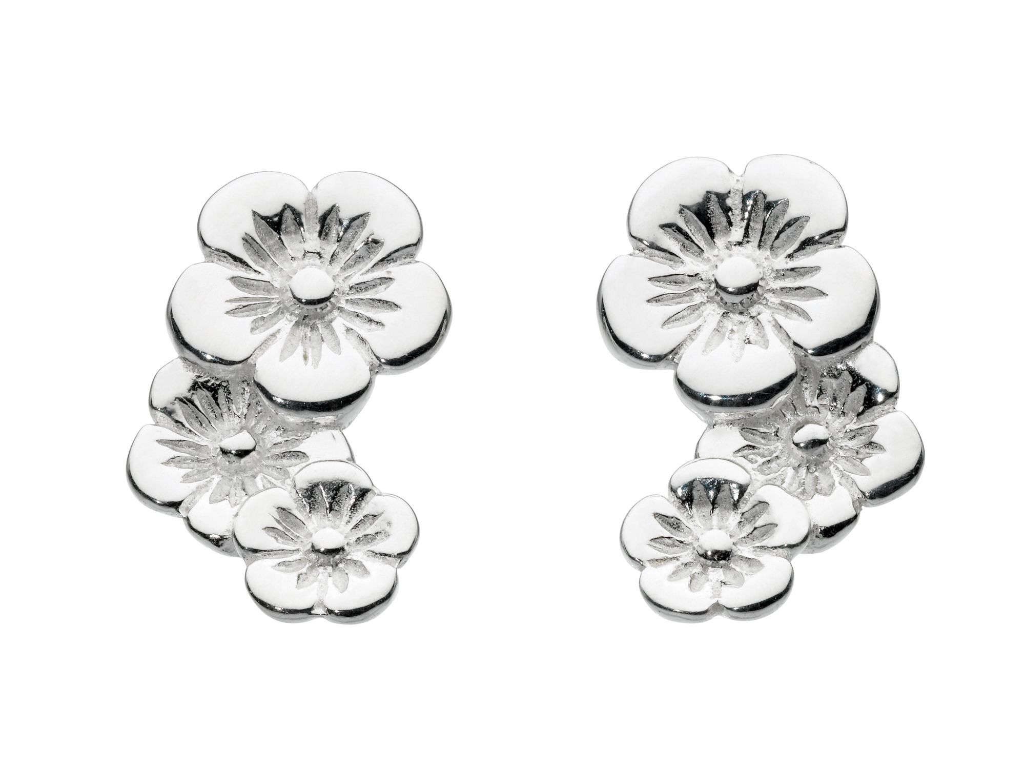 Sterling silver cupped flower cascade earrings