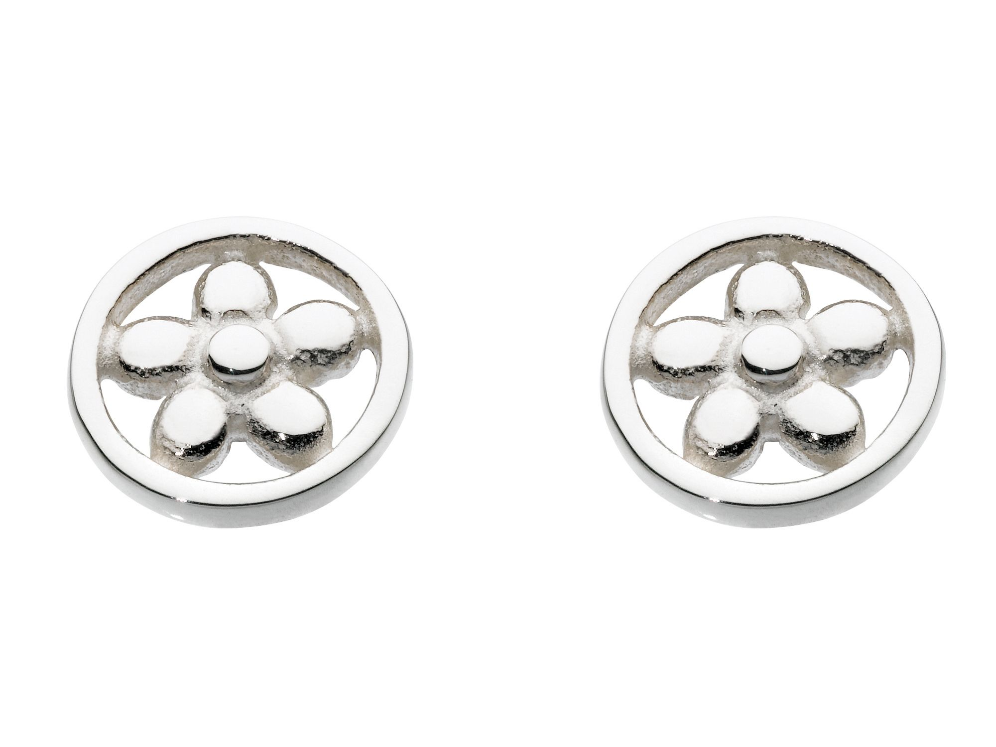 Sterling silver open flower round earrings