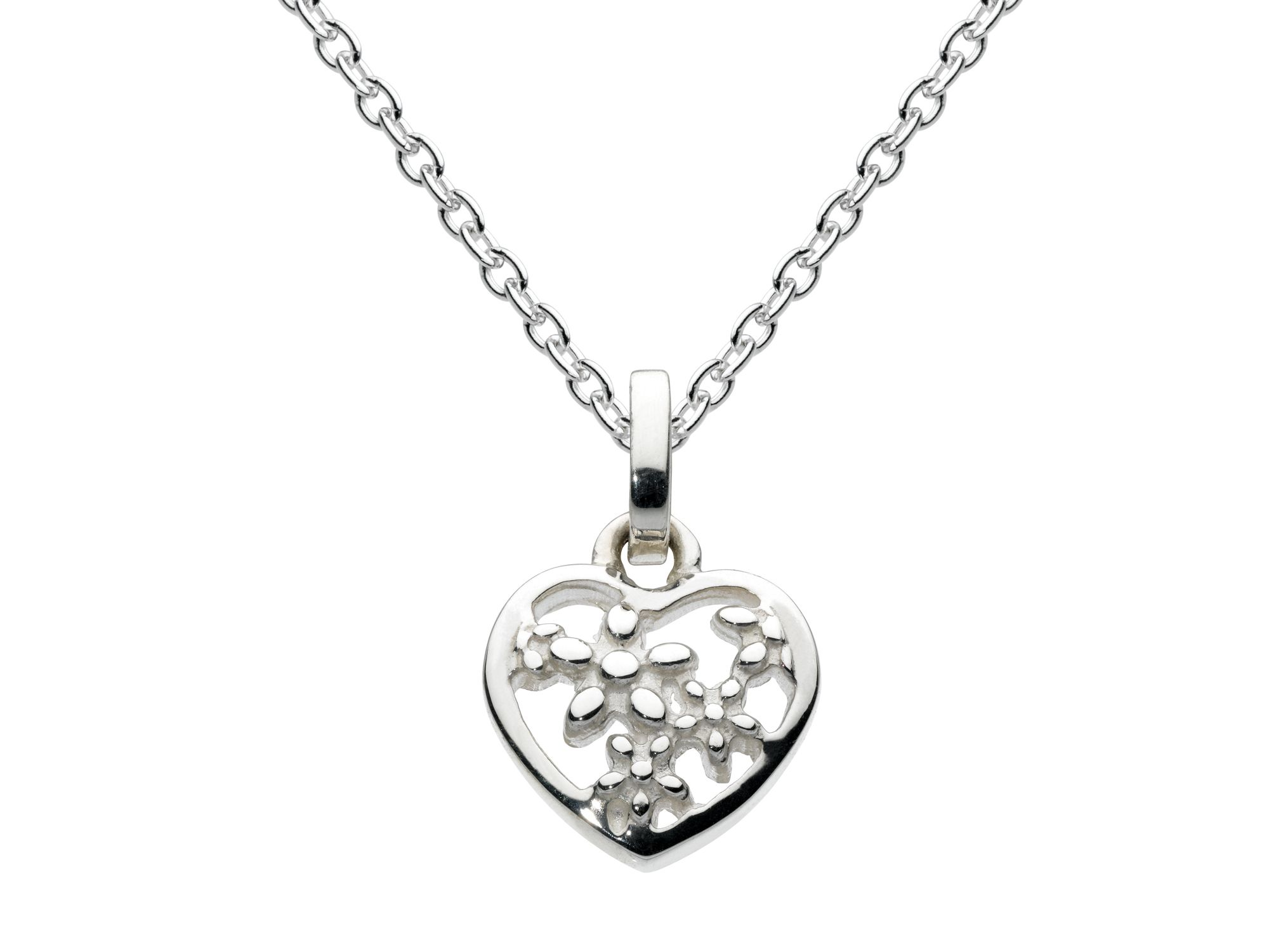 Sterling silver open flowers heart pendant