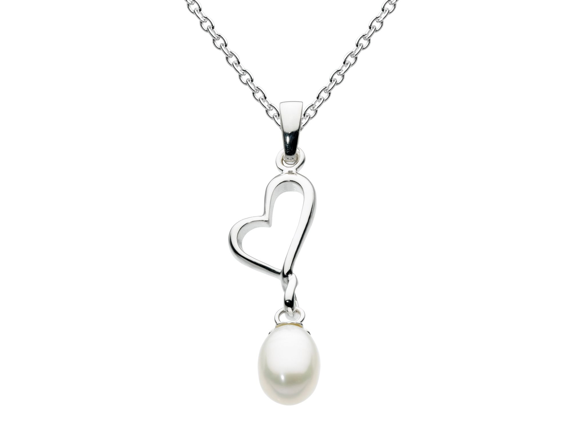 Sterling silver open heart and pearl pendant