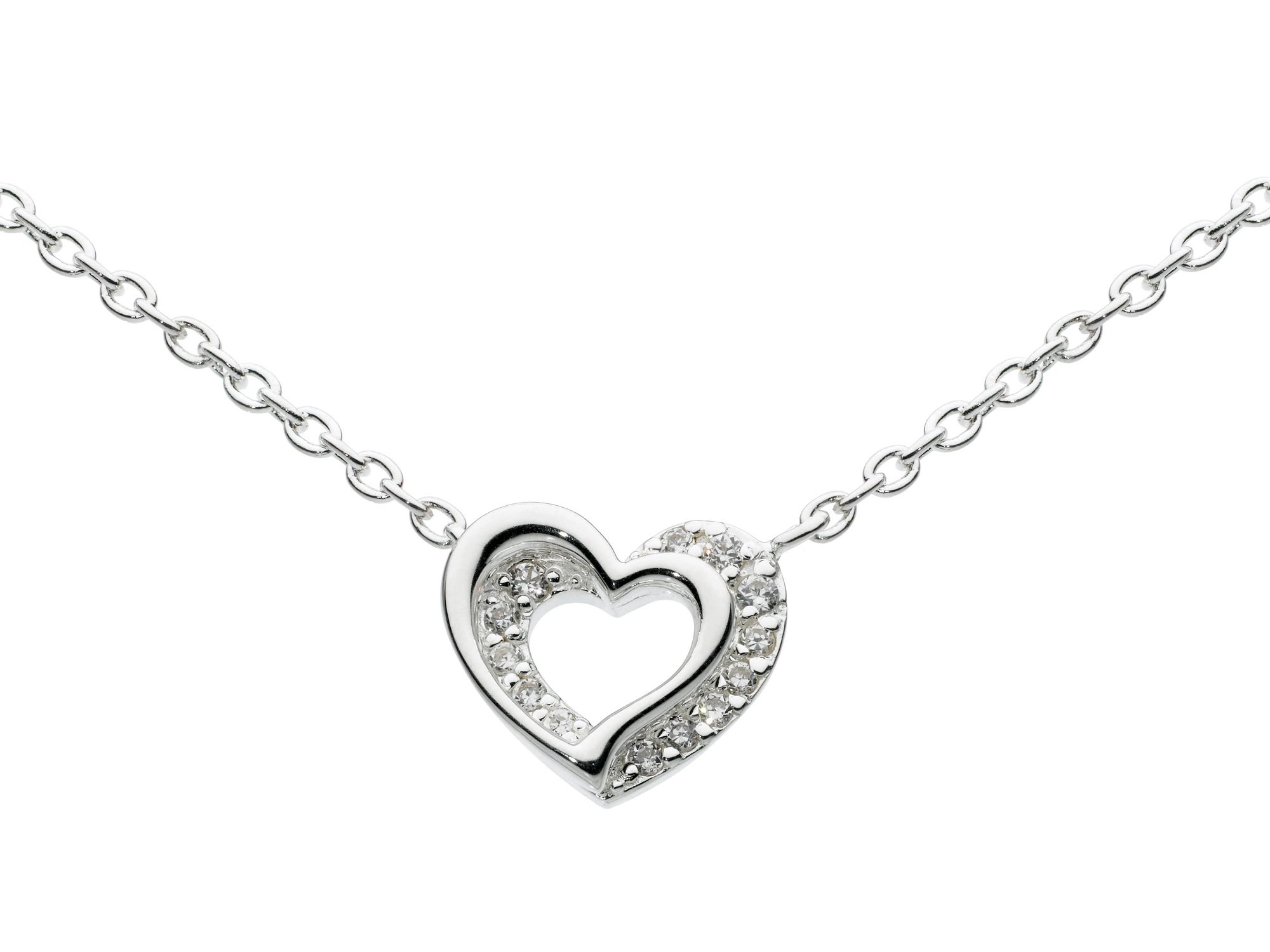 Sterling silver and pave heart necklace