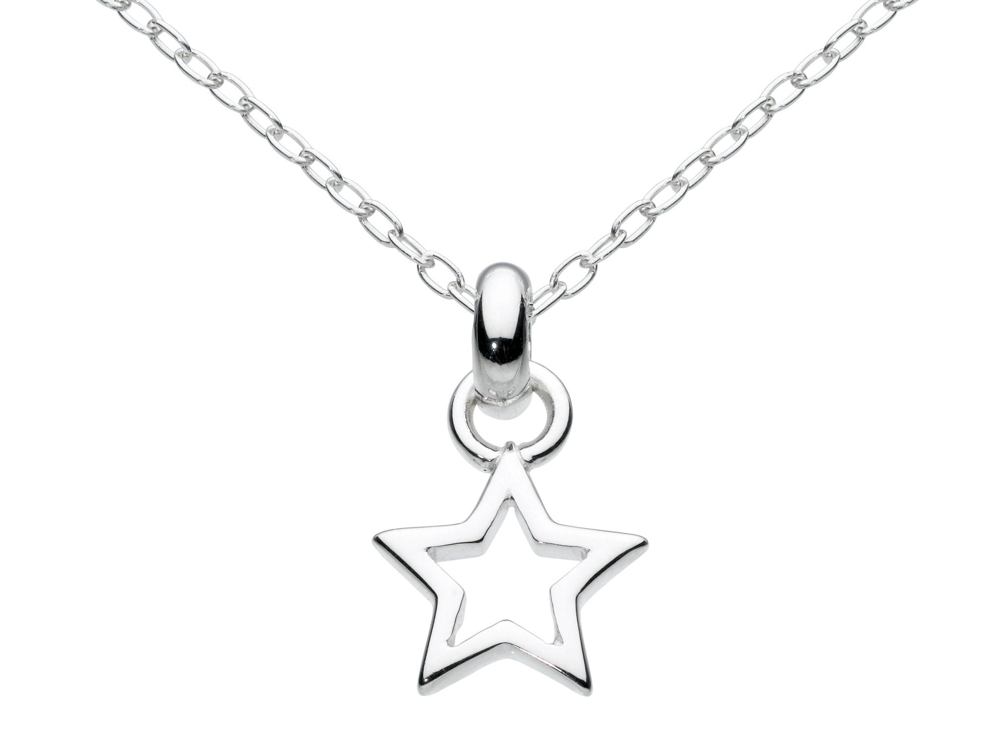 Sterling silver mini open star necklace