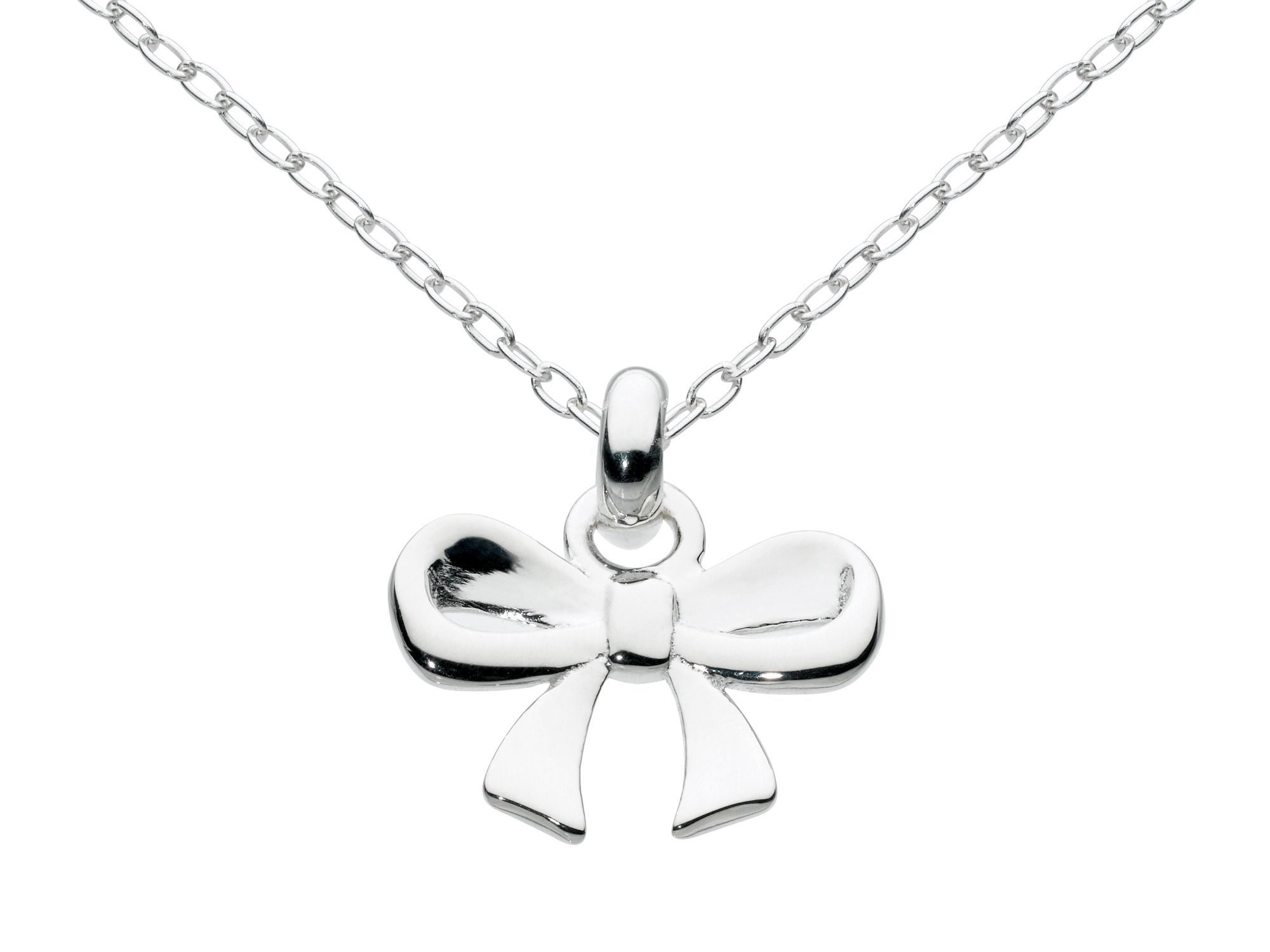 Sterling silver mini bow necklace