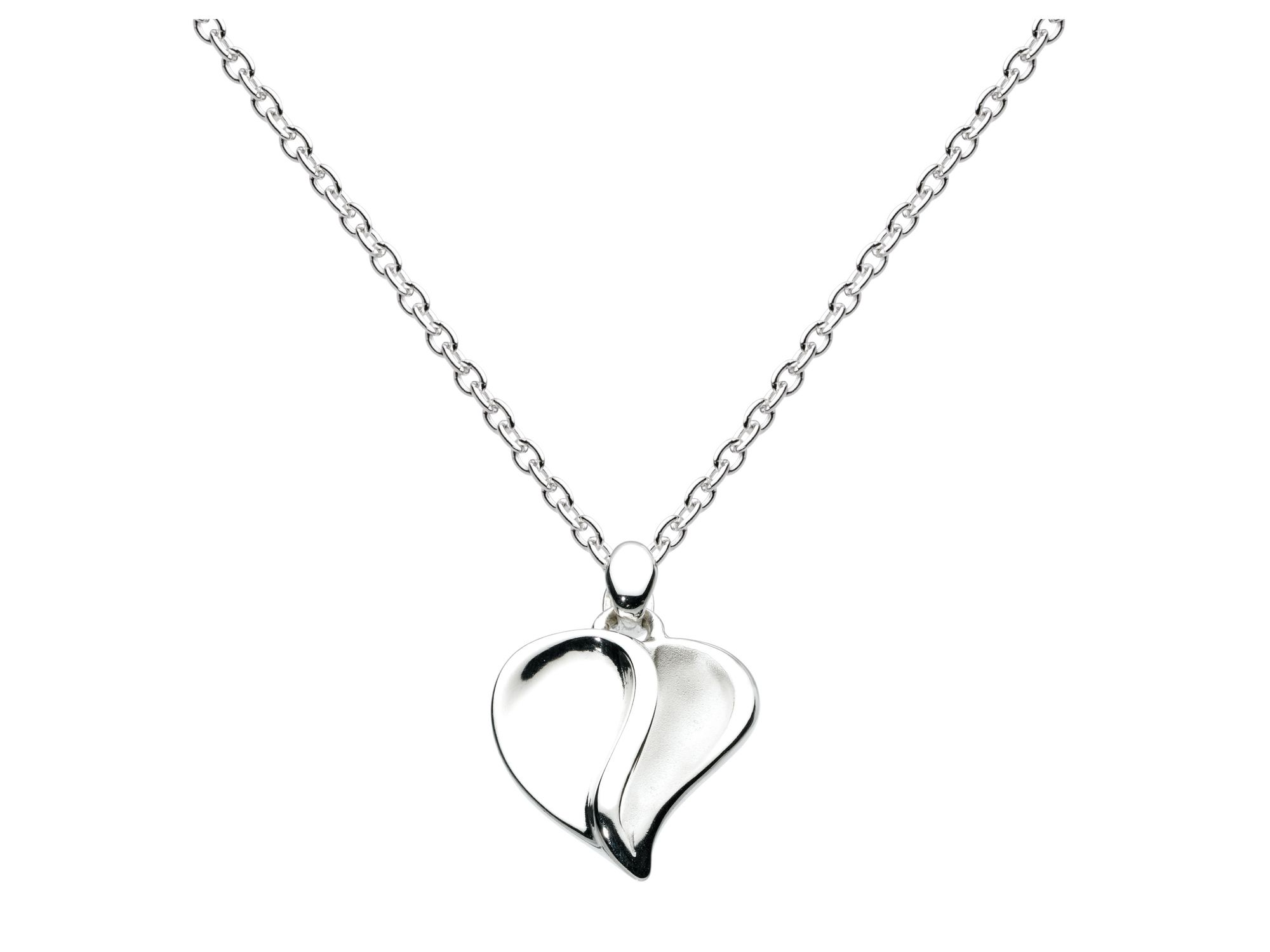 Sterling silver misted mayflower heart necklace