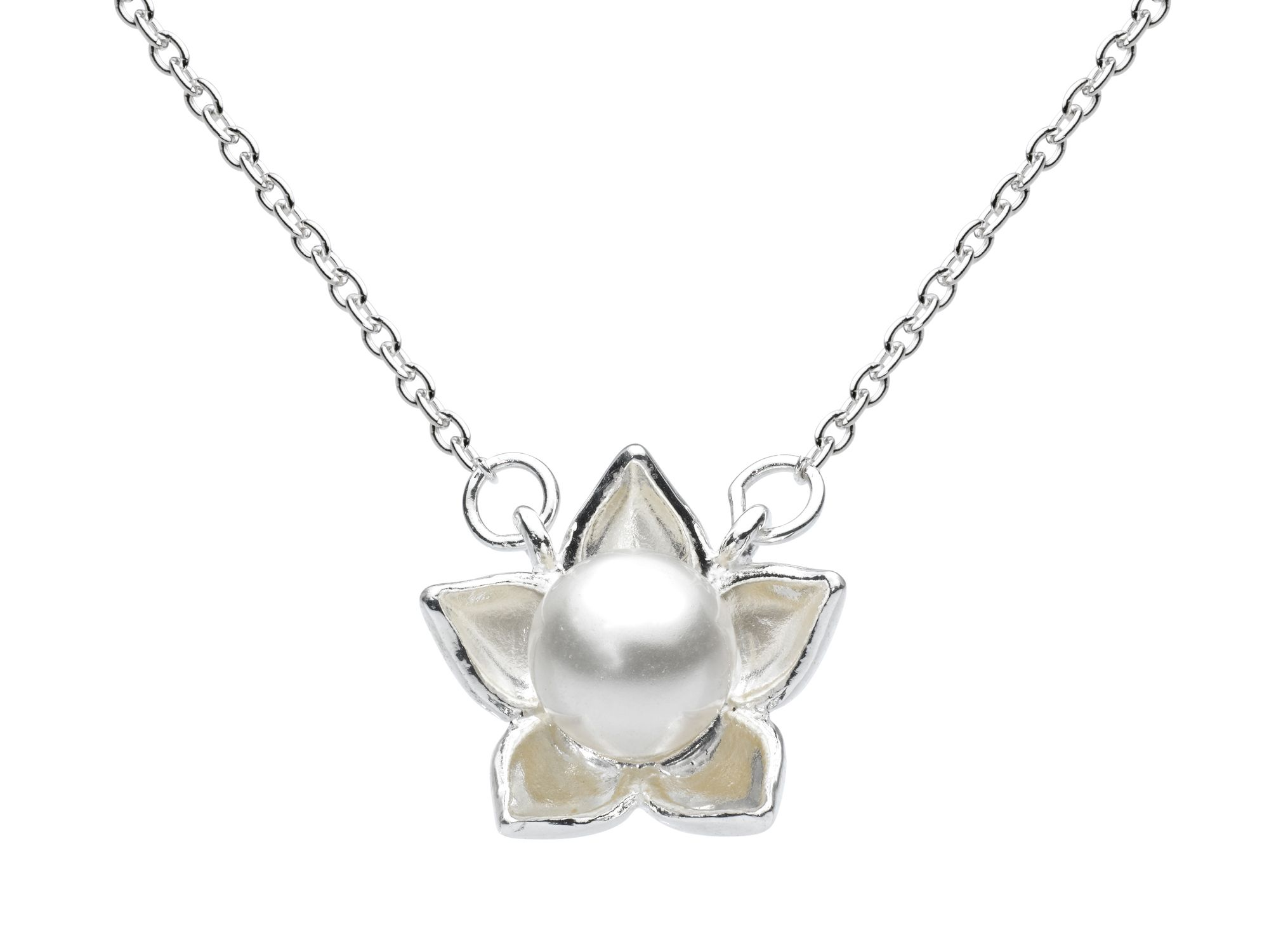 Sterling silver bloom pearl necklace 18