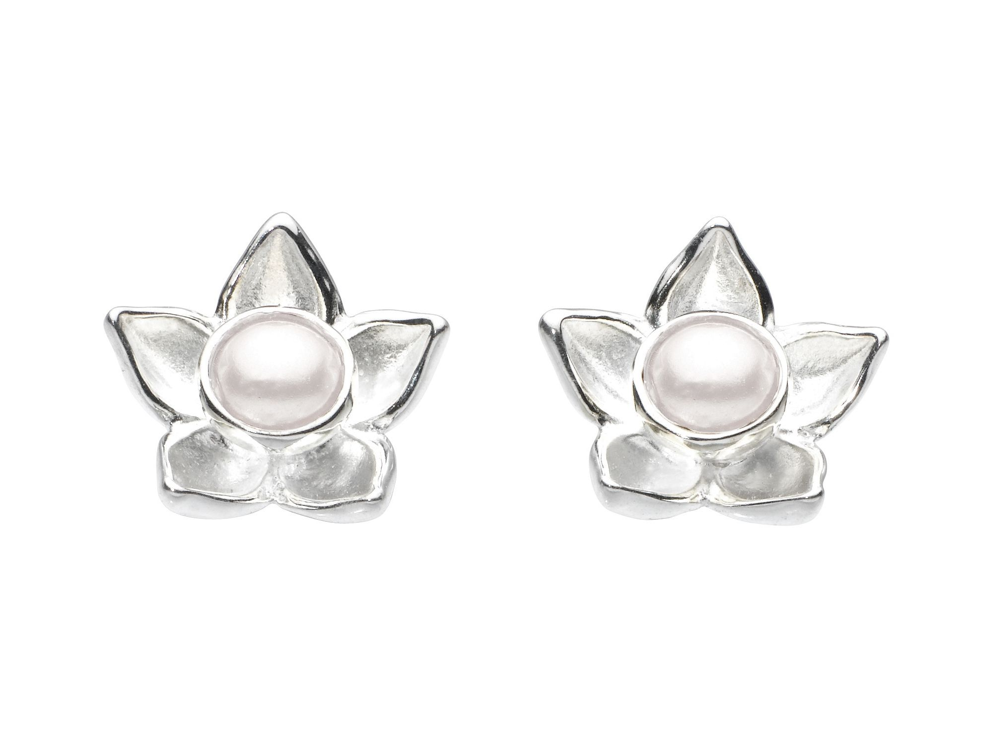 Sterling silver bloom pearl earrings