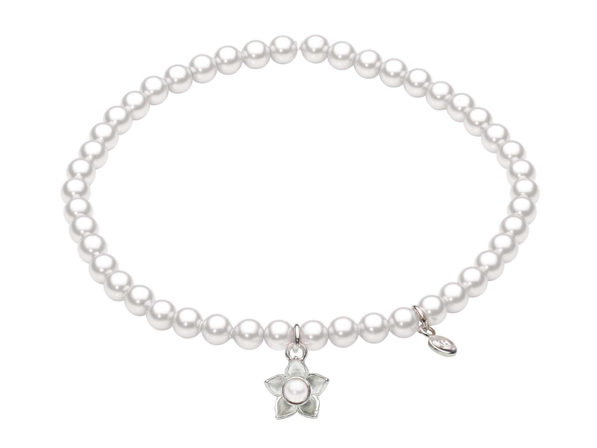 Sterling silver bloom pearl bracelet