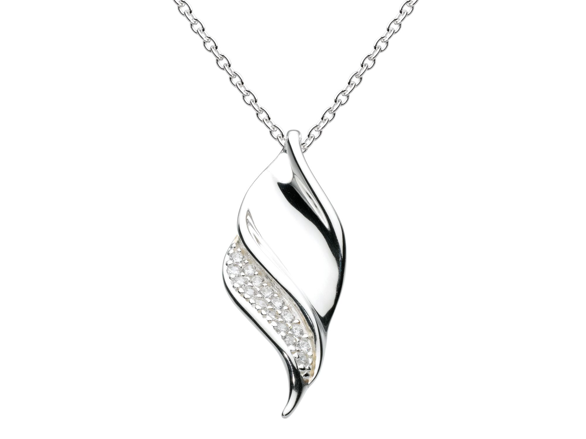 Sterling silver sparkling twisted scoop necklace