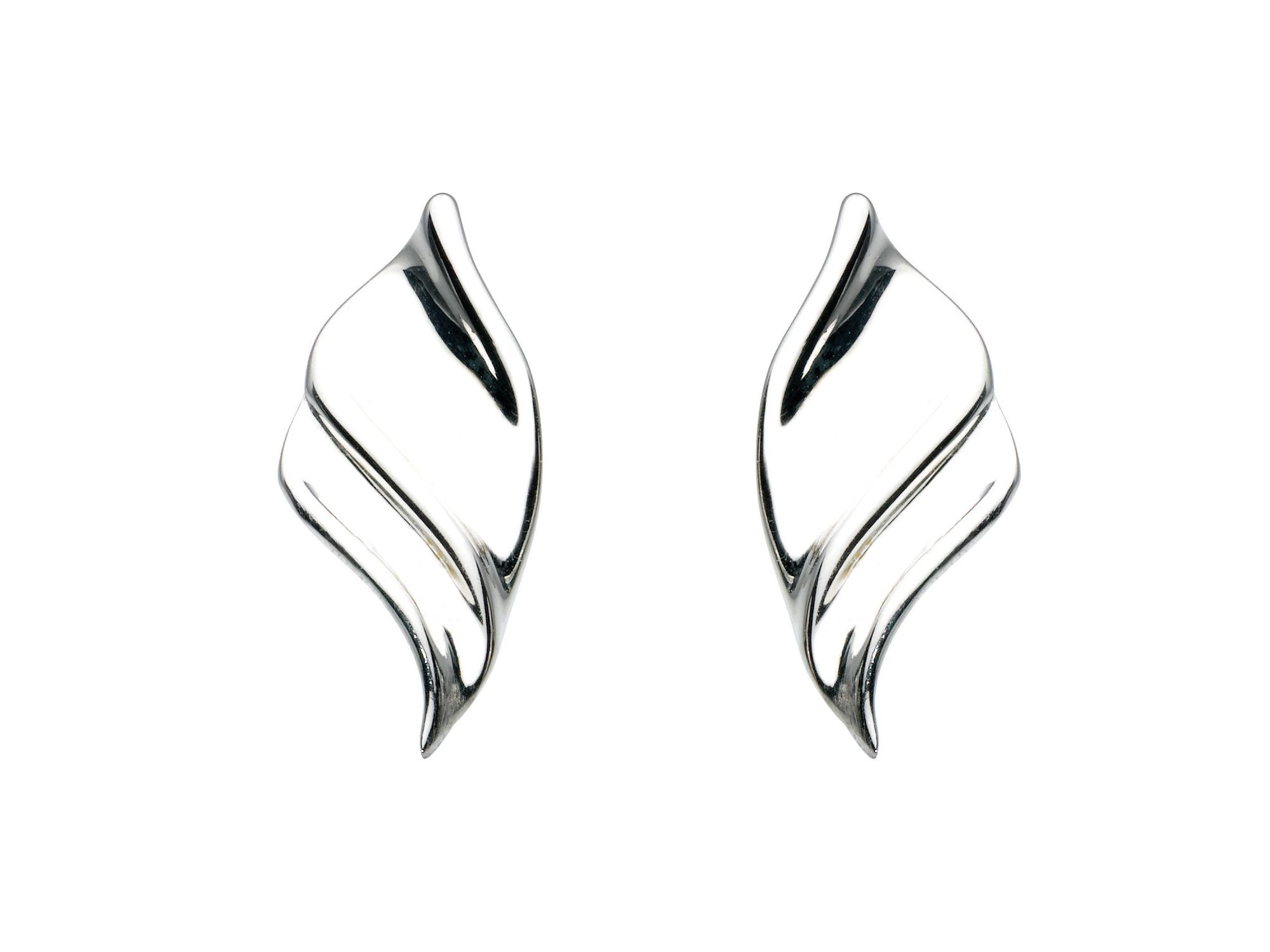 Sterling silver twisted scoop earrings