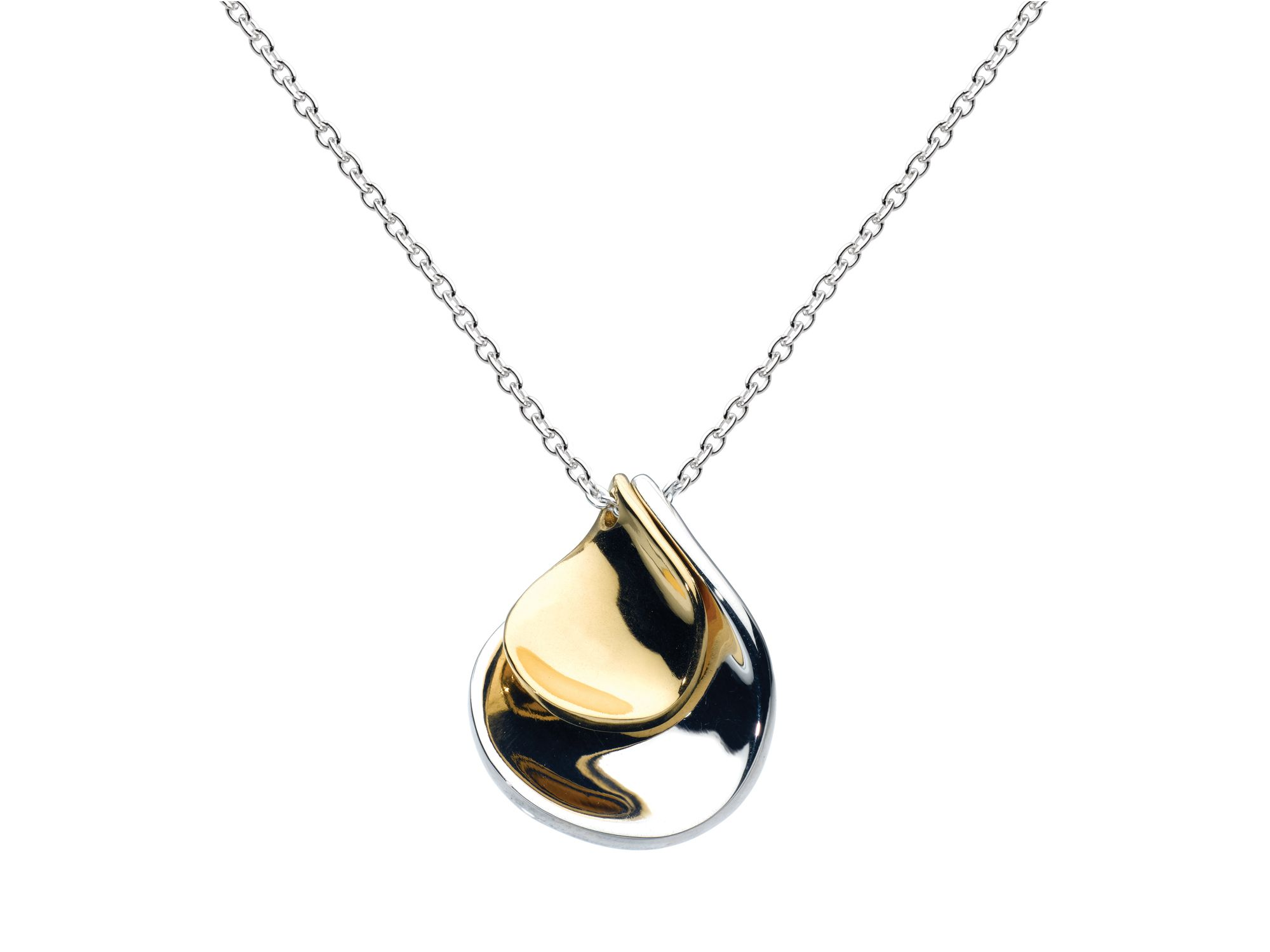 Sterling siver and 18ct gold plate petal necklace