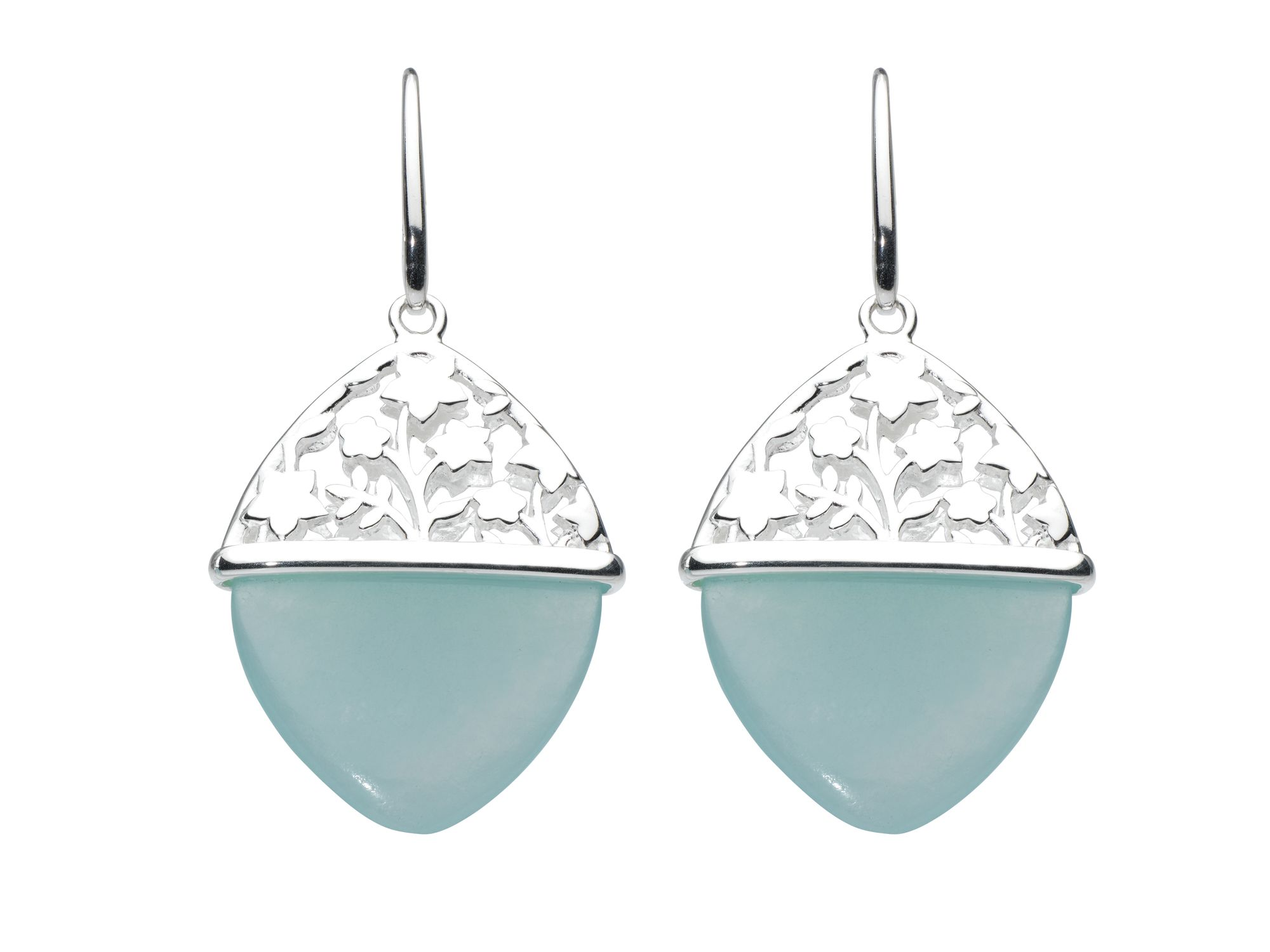 Sterling silver aster blue jade earrings