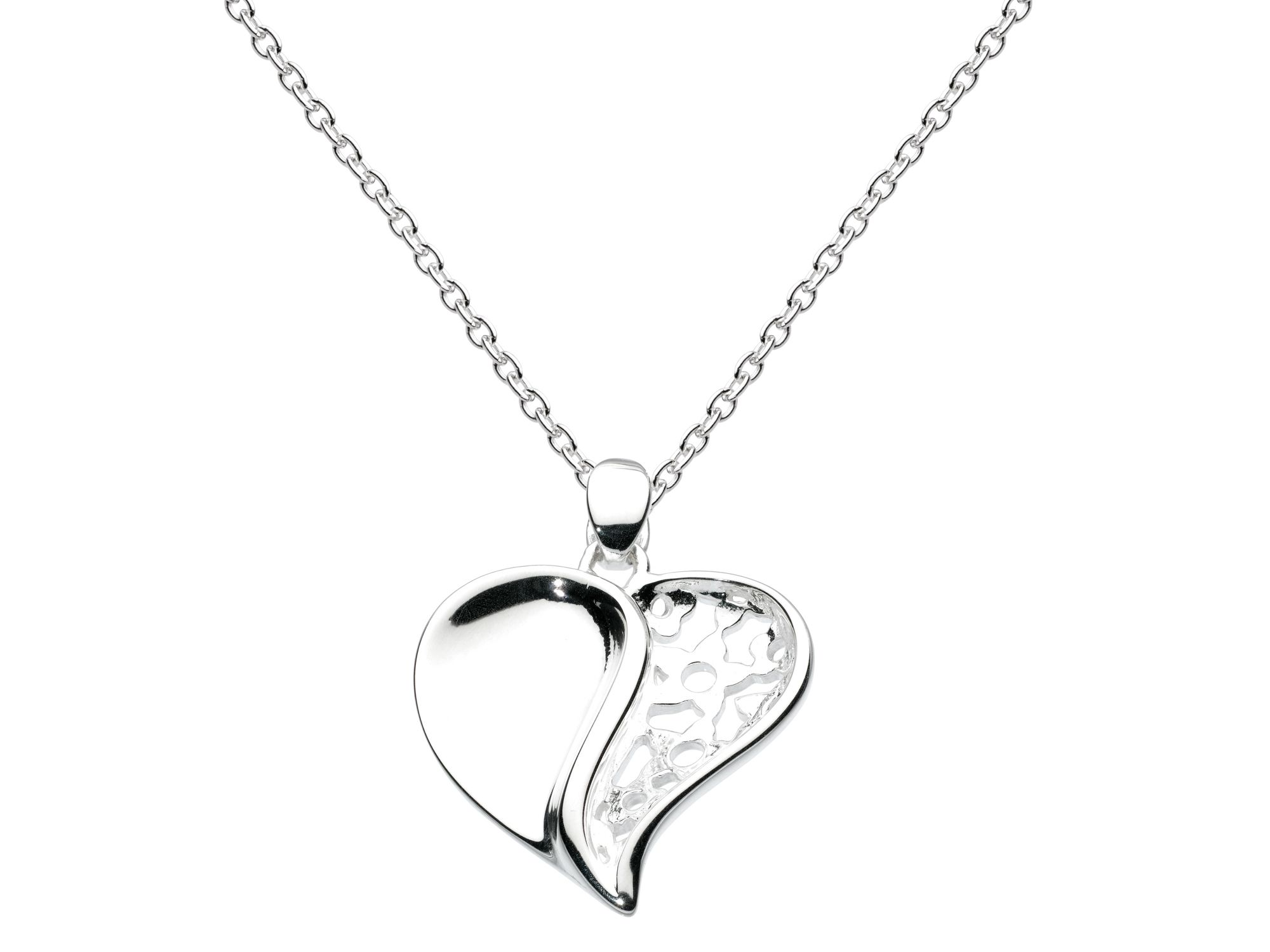 Sterling silver sculpted heart necklace