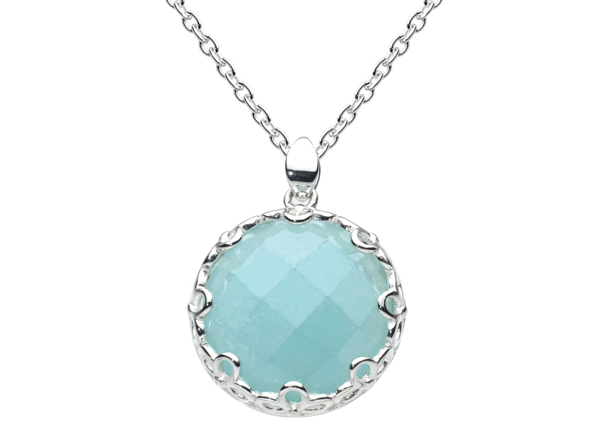 Sterling silver elegance faceted blue jade neckla