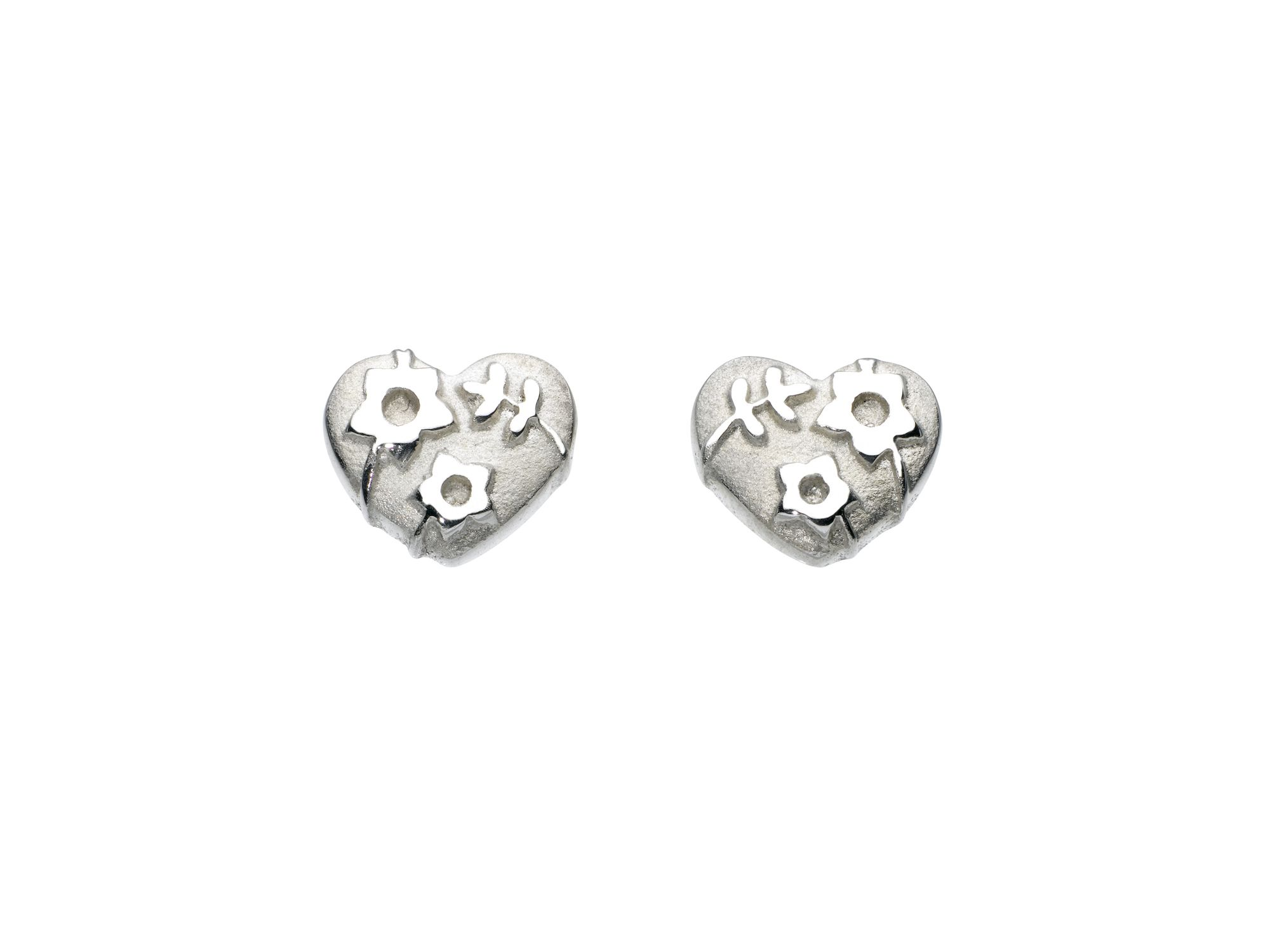 Sterling silver forget-me-not heart earrings