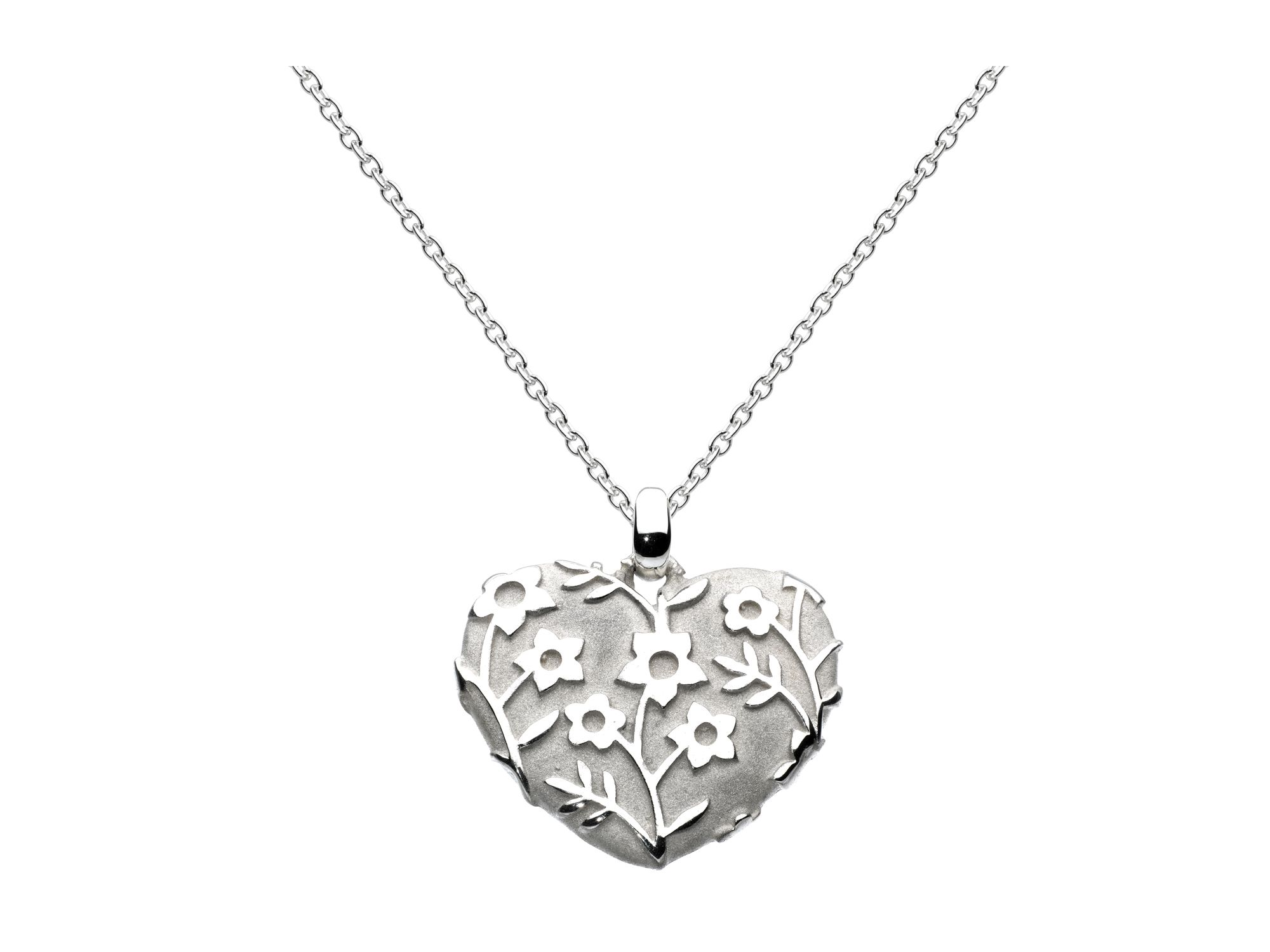 Sterling silver forget-me-not heart necklace