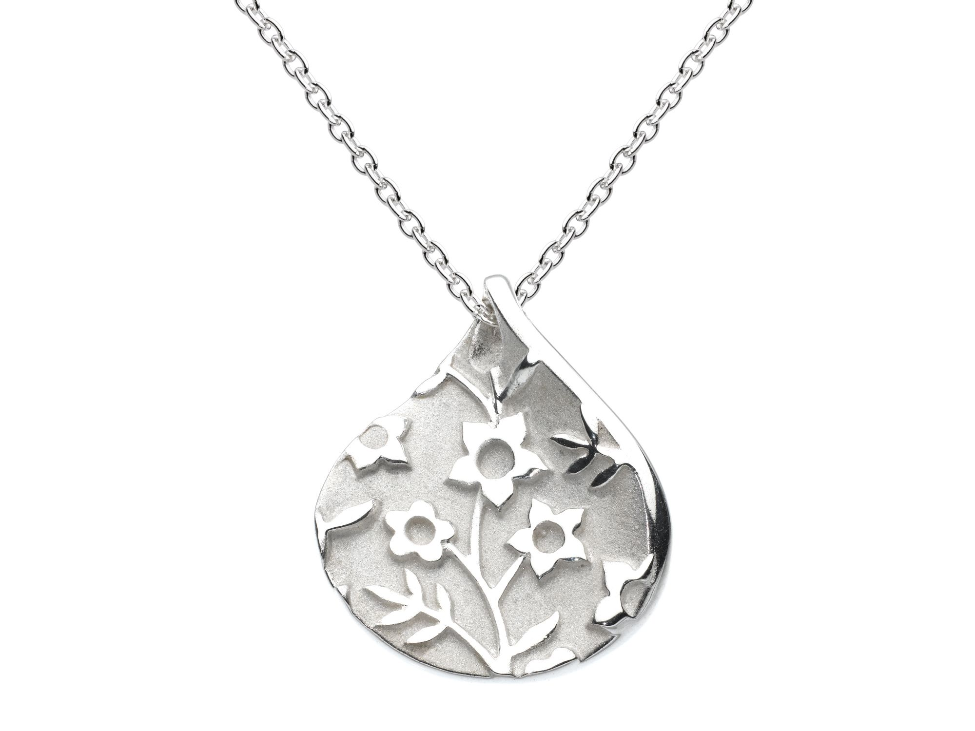 Sterling silver forget-me-not petal pear necklace