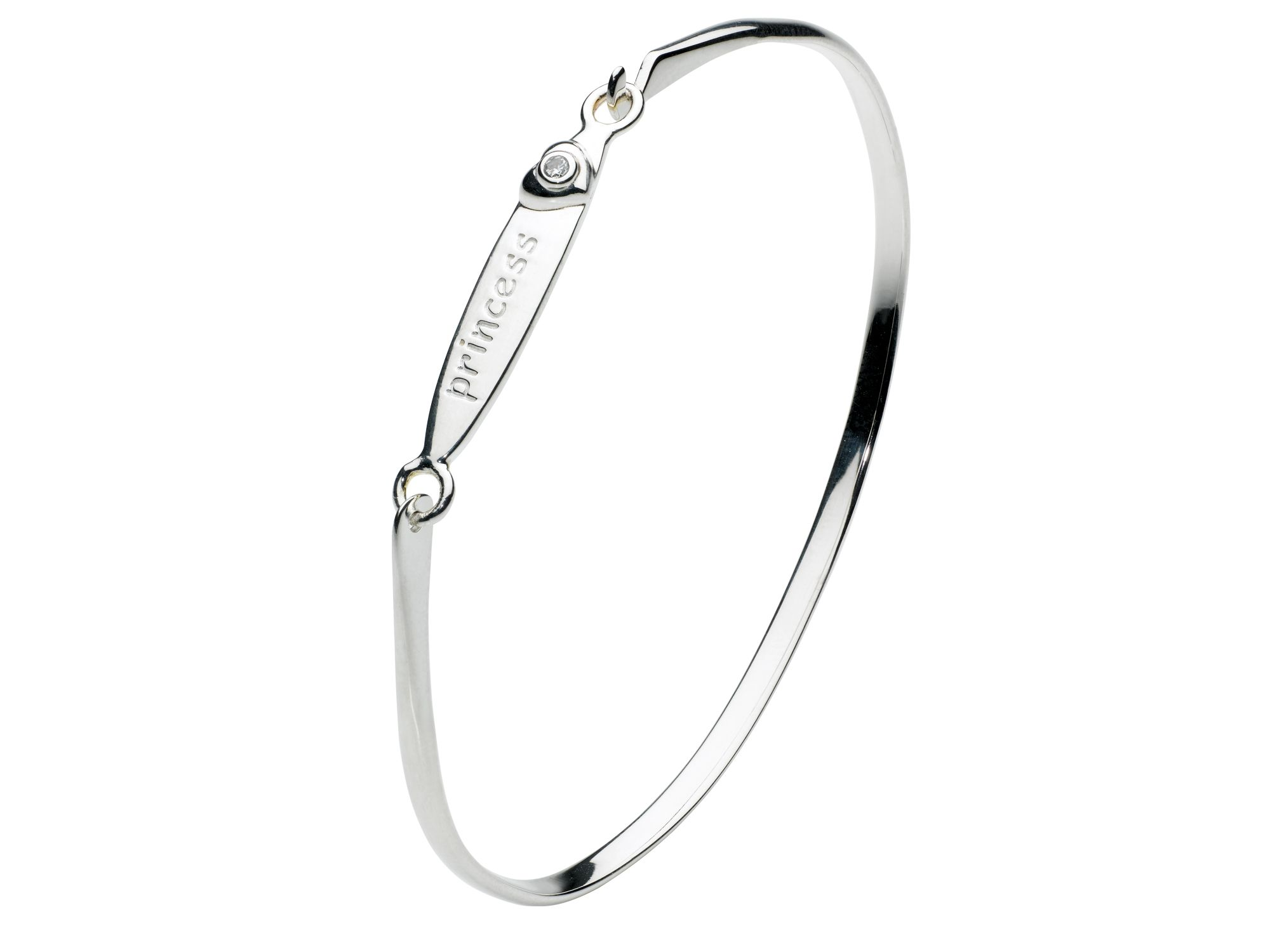 Kids inscribed princess heart bangle