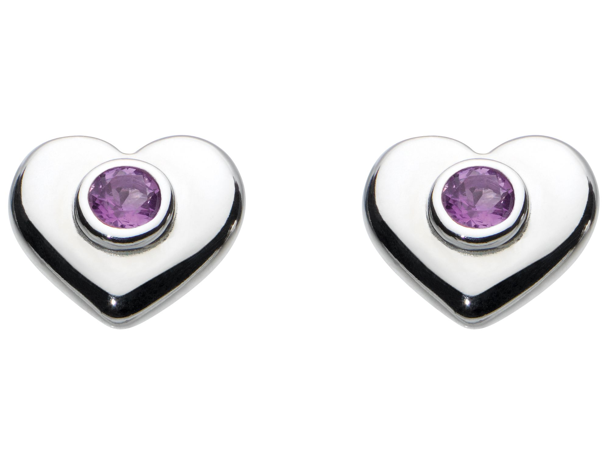 Kids february heart birthstone earrings
