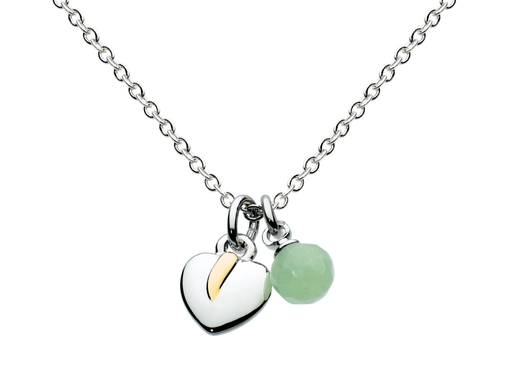 Silver leaf light green bead necklace
