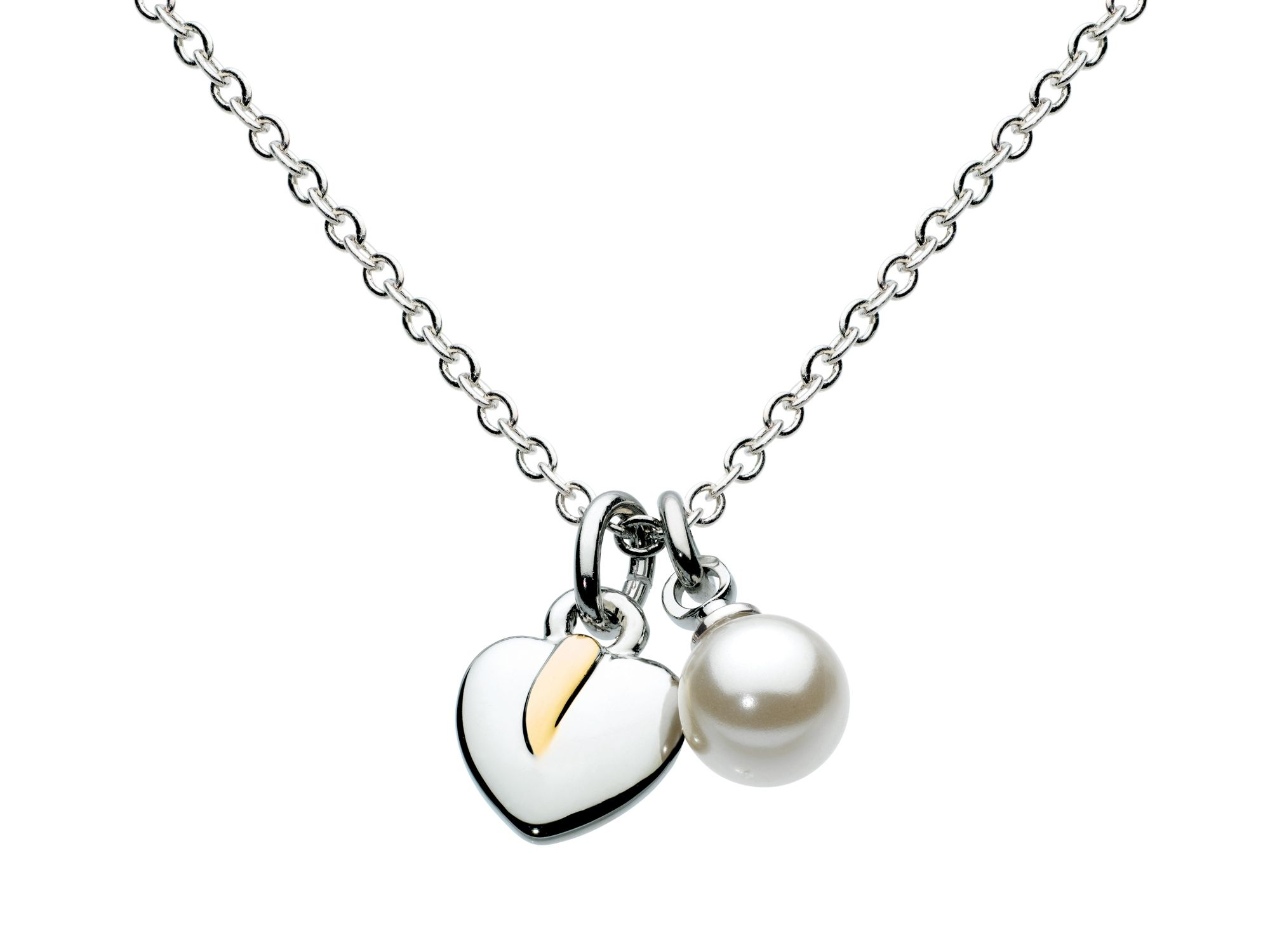 Silver leaf & pearl necklace