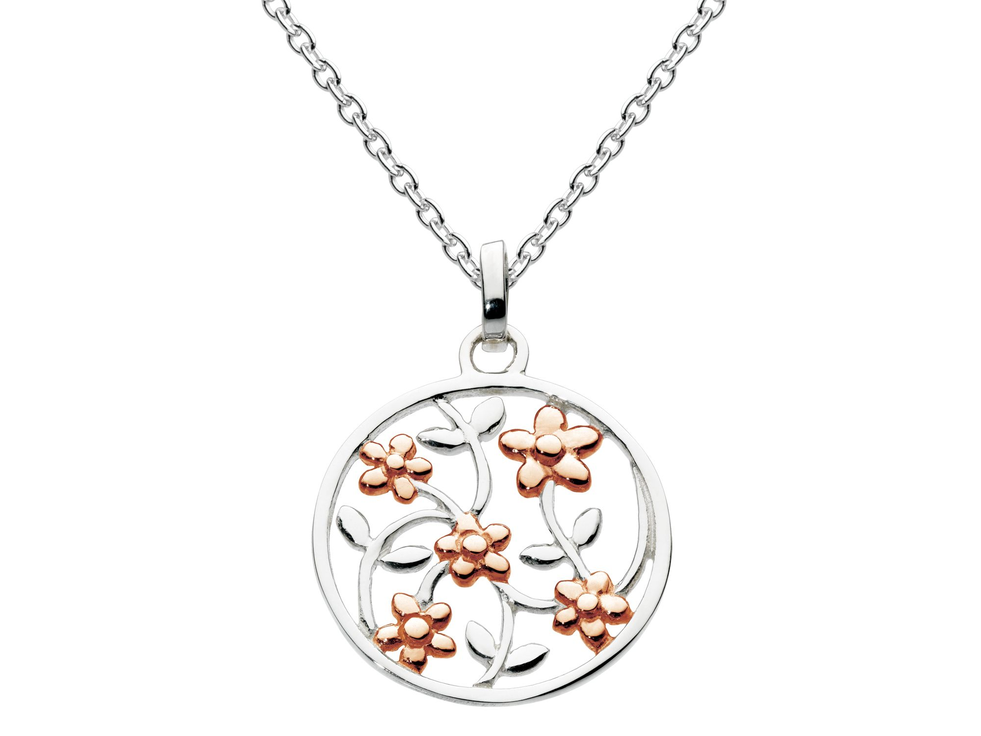 Rose gold plate open flower round pendant