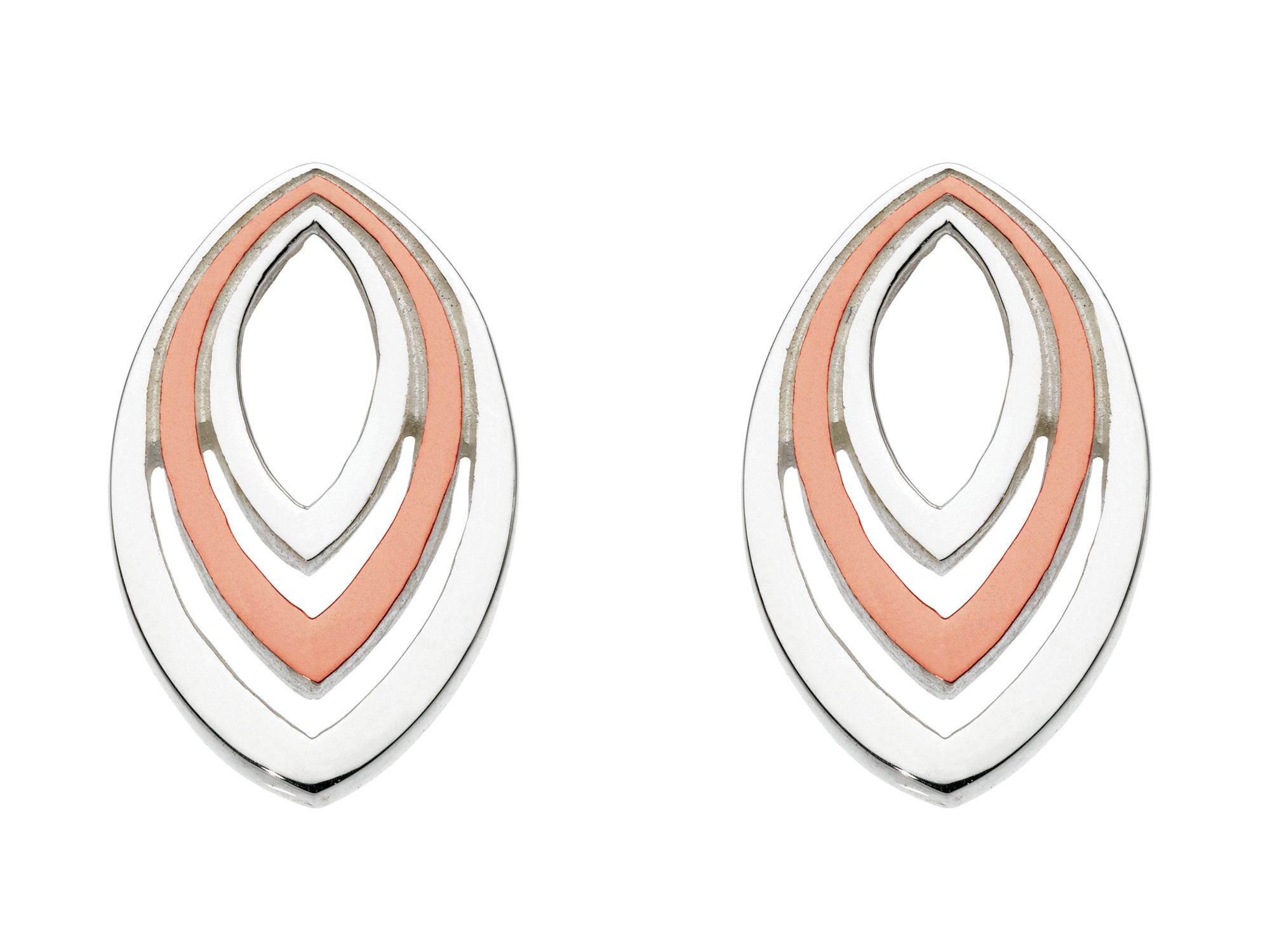 Rose gold plate layered marquise earrings