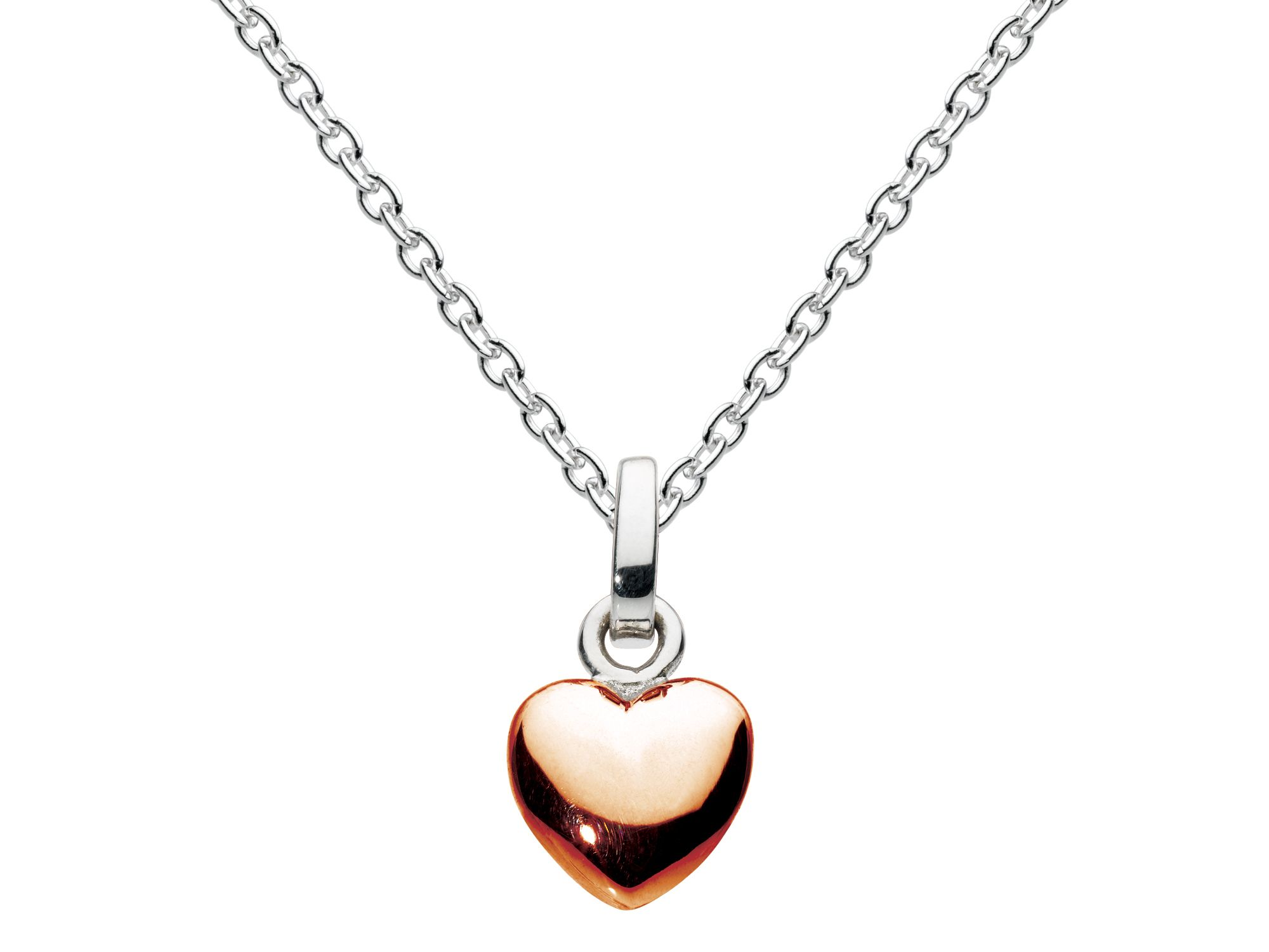 Rose gold plate solid heart pendant