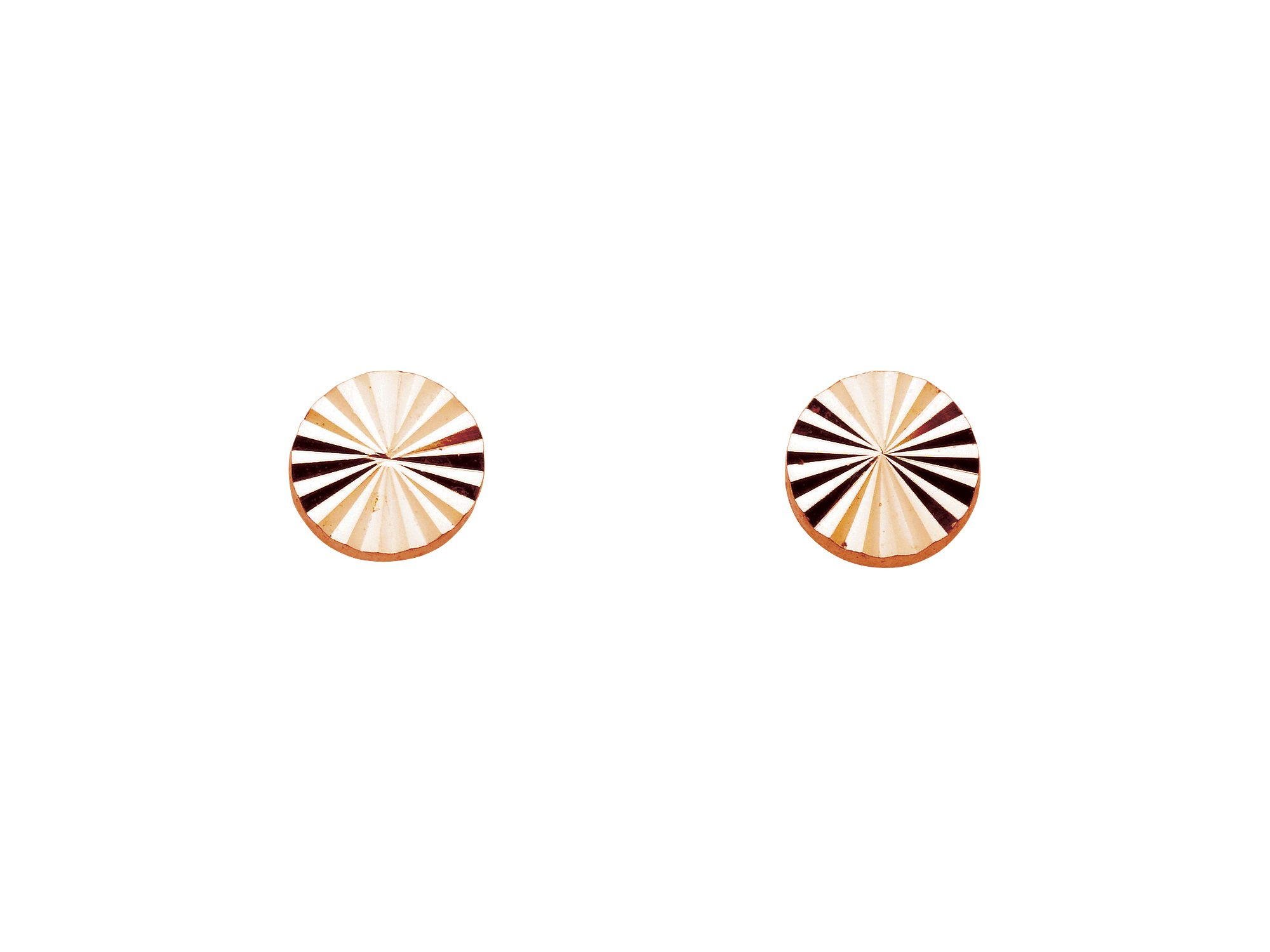 Rose gold plate studs diamond cut discs