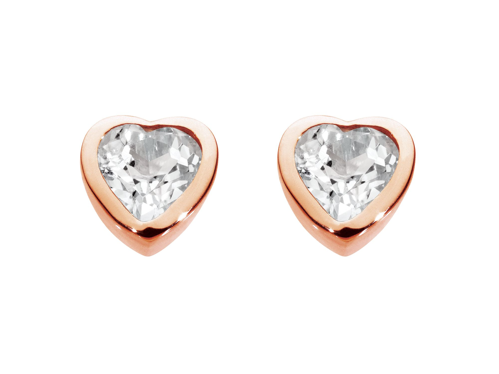 Rose gold plate stone heart earrings