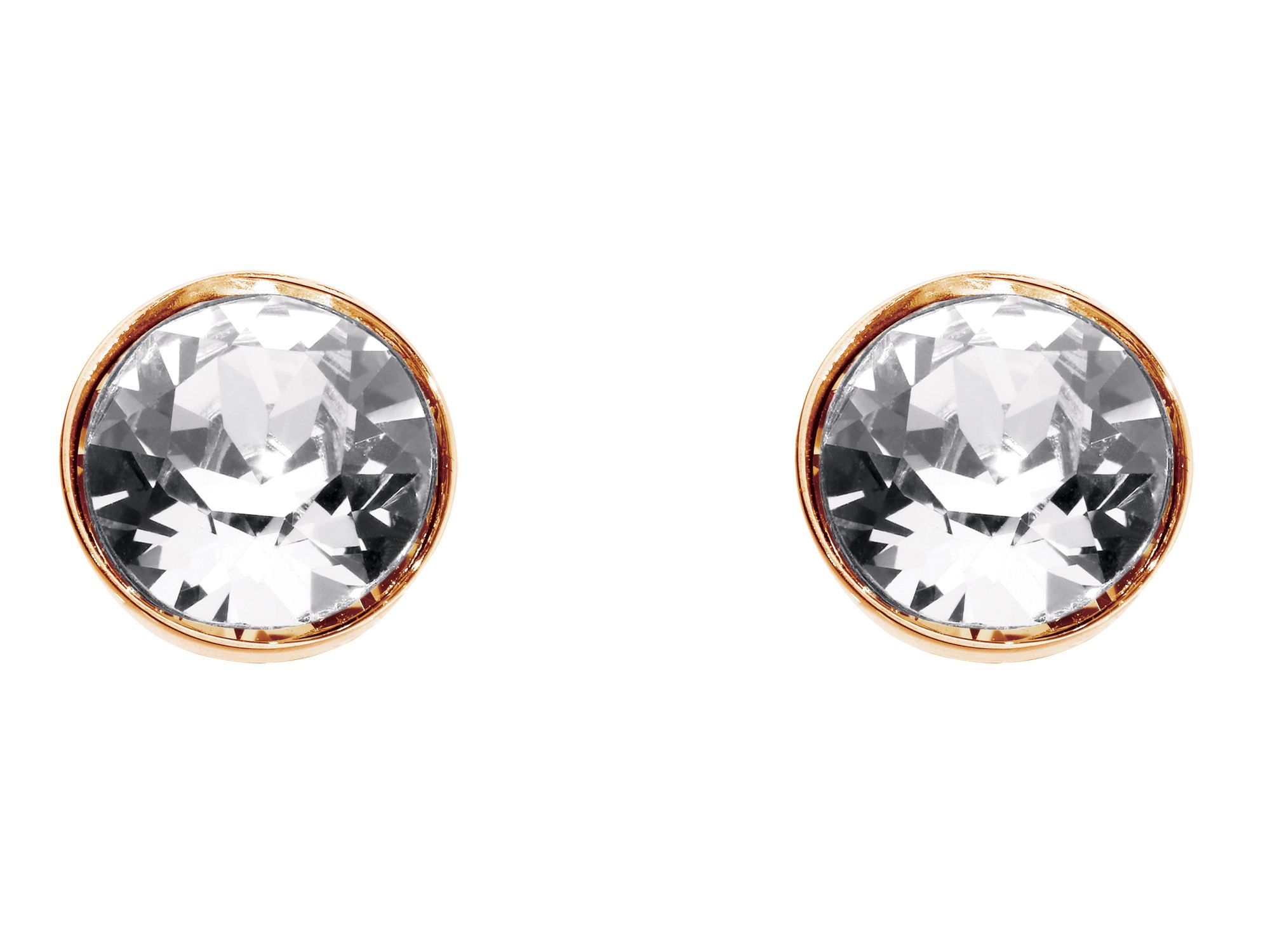 Rose gold plate medium round earrings