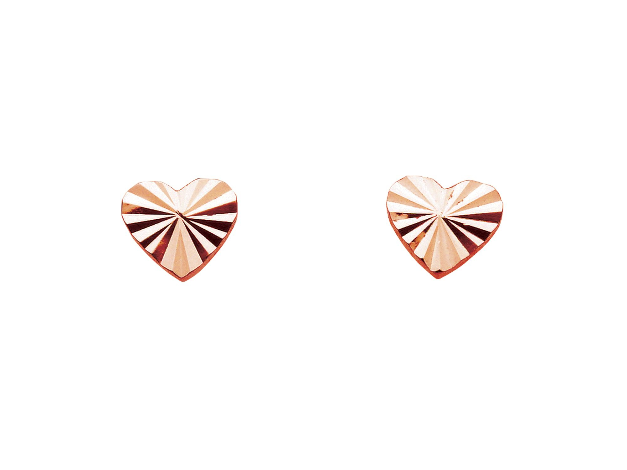 Rose gold plate diamond cut heart earrings