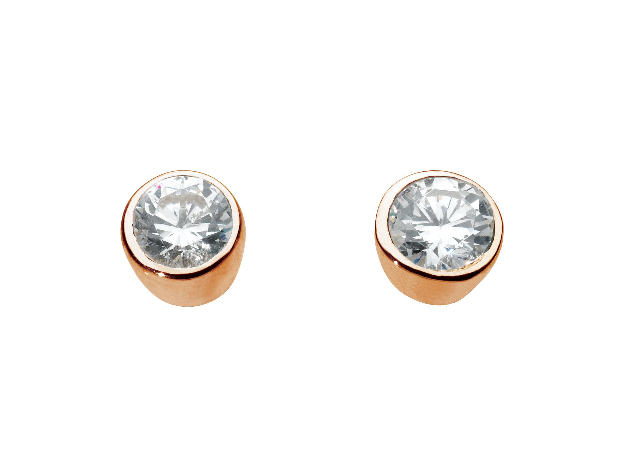 Rose gold plate small round stone earrings