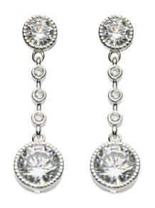 Round cubic zirconia drop earrings
