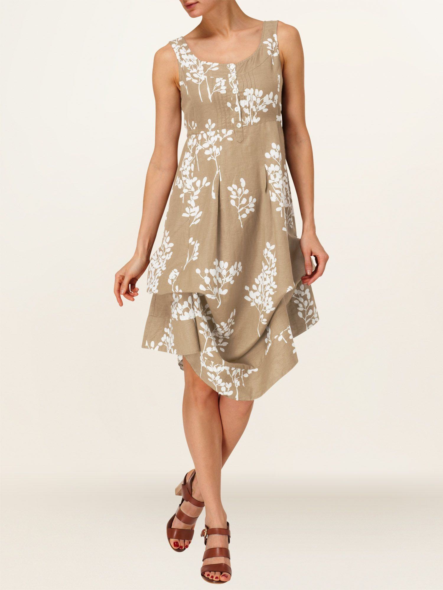 Laurel printed linen hook-up dress