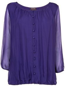 Cassie Button Front Silk Blouse