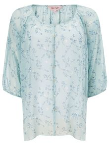 Della bird print button blouse
