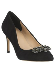 Dahlia suede jewel point heeled shoes