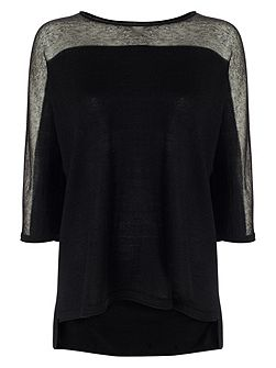 Sarina Sheer Shoulder Knit Top