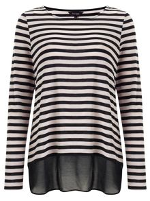 Phase Eight Sandie stripe woven hem top