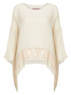 Pru Silk Sequin Hem Blouse