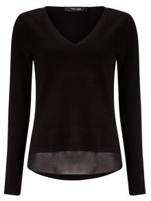 Soraya woven trim v neck knit jumper