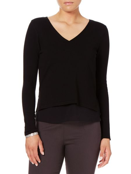 Phase Eight Soraya woven trim v neck knit jumper