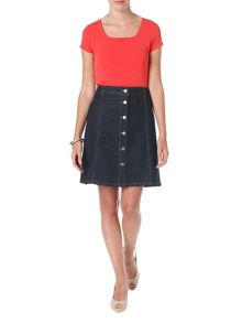 Bea Button Denim Skirt