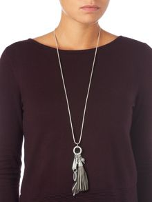 Phase Eight Livia leather tassle pendant necklace