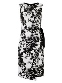 Karen tie waist jacquard dress