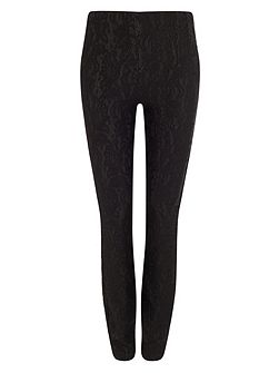 Bonded lace ponte jeggings
