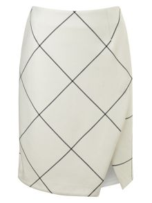 Ginette check wrap detail skirt
