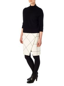 Phase Eight Ginette check wrap detail skirt