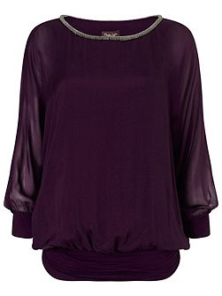Jessica beaded neck blouse