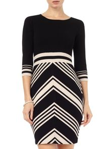 Magdalena chevron knit dress